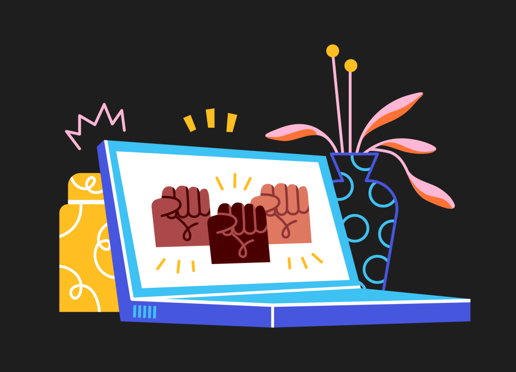 Illustration of laptop computer with BLM fists.