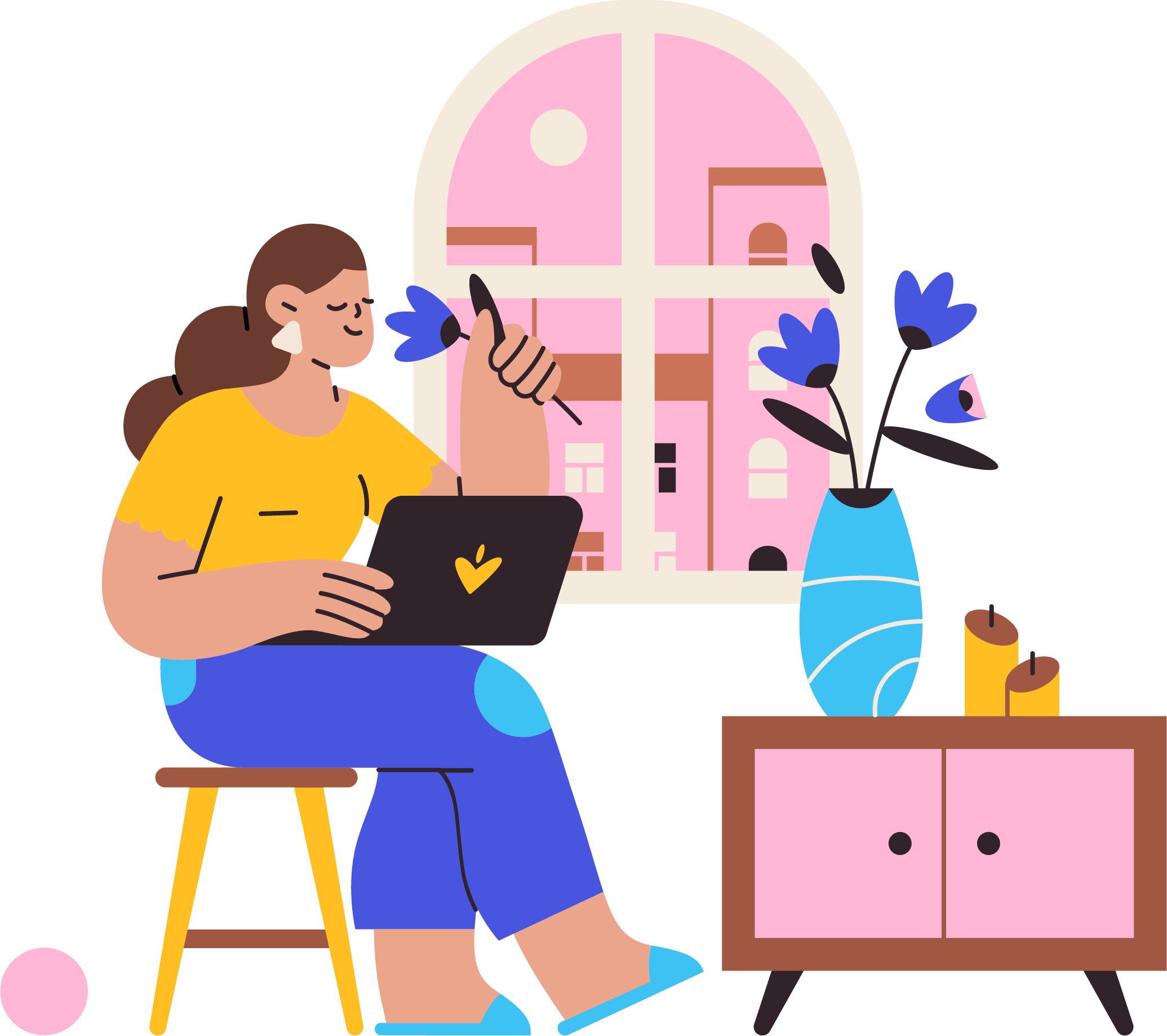 Illustration of womxn on their computer.